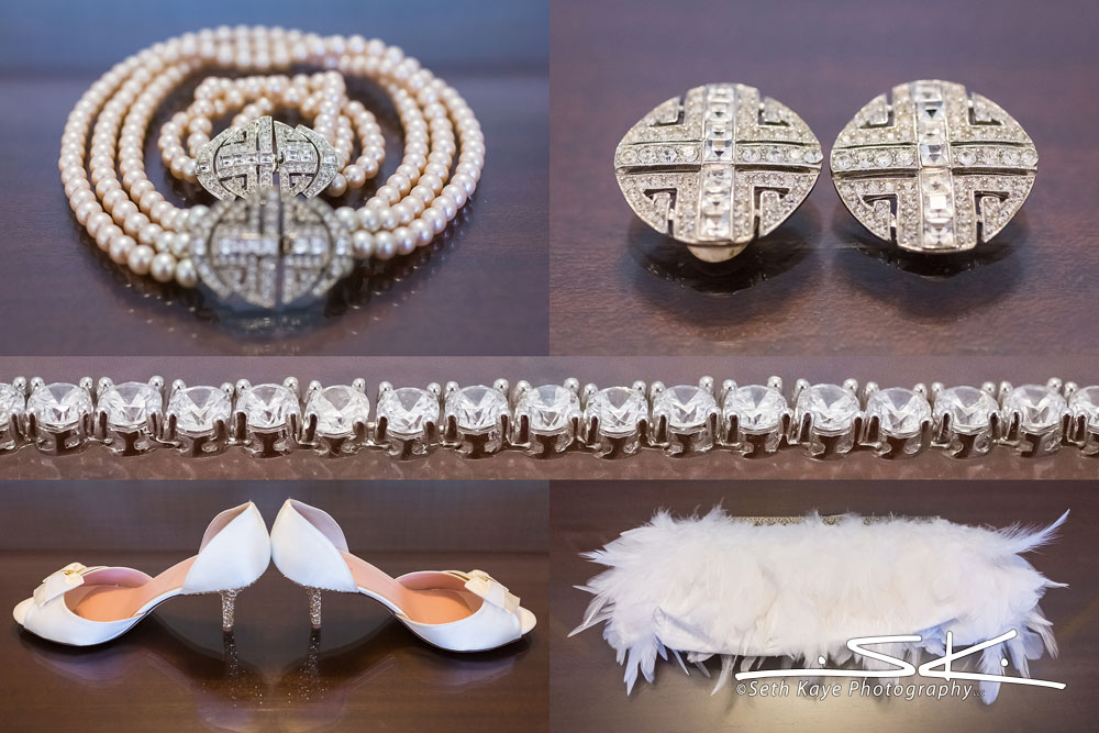 bride's jewelry and other details