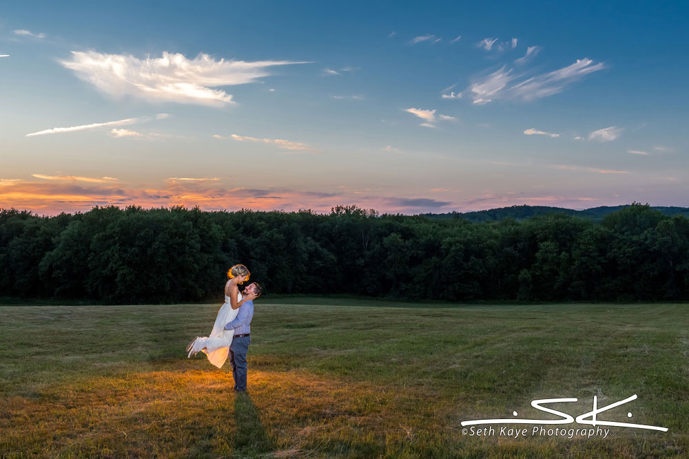 Misty Mountain Farm sunset wedding portrait