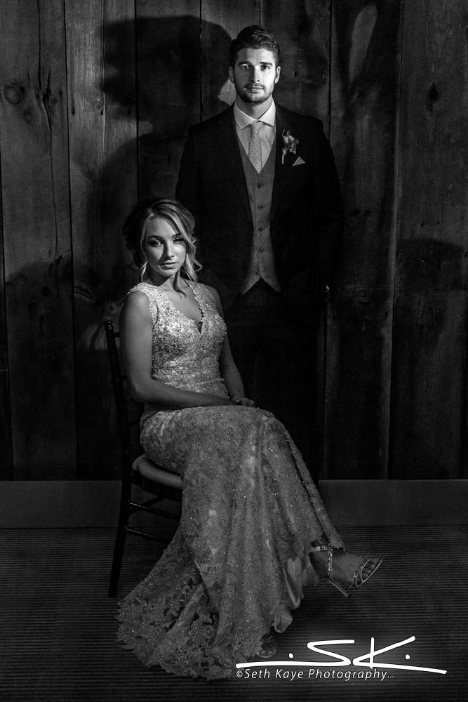 bride and groom black and white stylish wedding portrait
