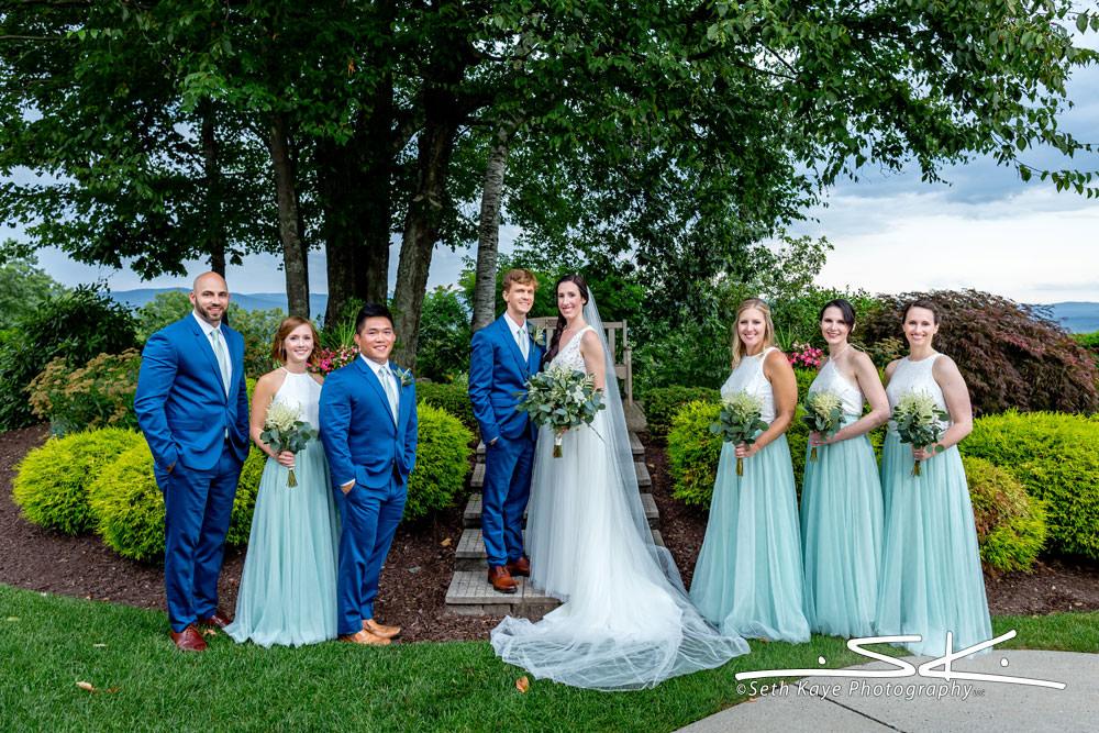Log Cabin Wedding Party Portrait