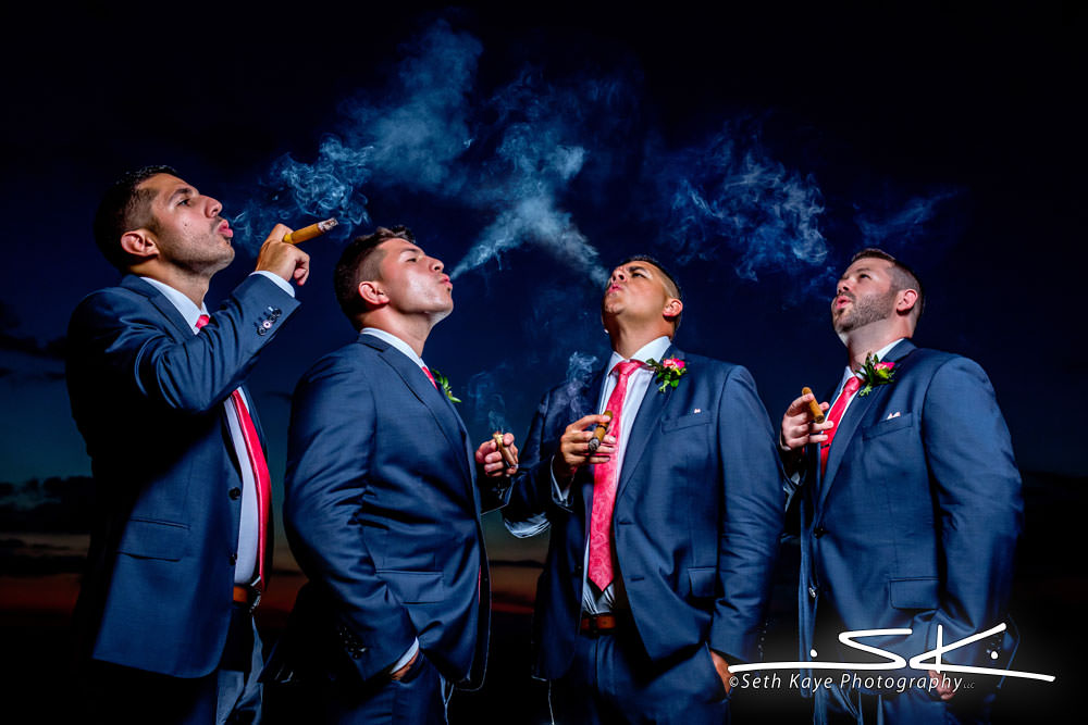 Starting Gate Groomsmen Cigar Portrait