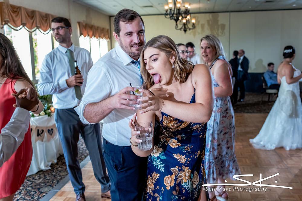 drunk wedding guest