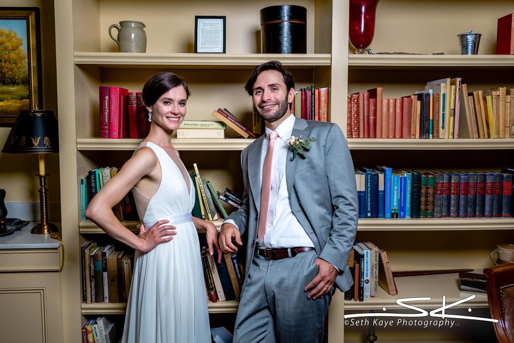 library wedding portrait